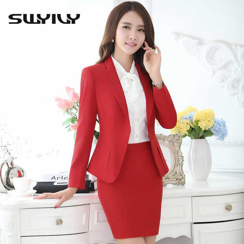 4c396c800a Women Office Skirt Suit Plus Size 4XL 5XL 2019 Slim OL Elegant Ladies Long- Sleeve