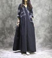 Women Cotton Linen Dress Patchwork Long Sleeve 2017 Autumn New Women Striped Dots Casual Vintage Dress