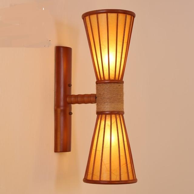 Chinese stijl 1/2 heads bamboe muur lampen woonkamer gangpad ...