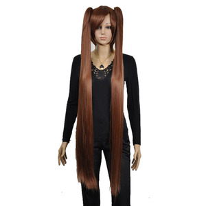 Image 3 - Strongbeauty女性のコスプレかつらダブルポニーテールロングストレート髪型2クリップオン合成耐熱性繊維かつら