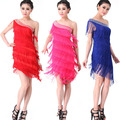 Vestidos Латиноамериканцев Сексуальная Одно Плечо Латинской Танго Румба Сальса Бальные Кисти Dance Dress