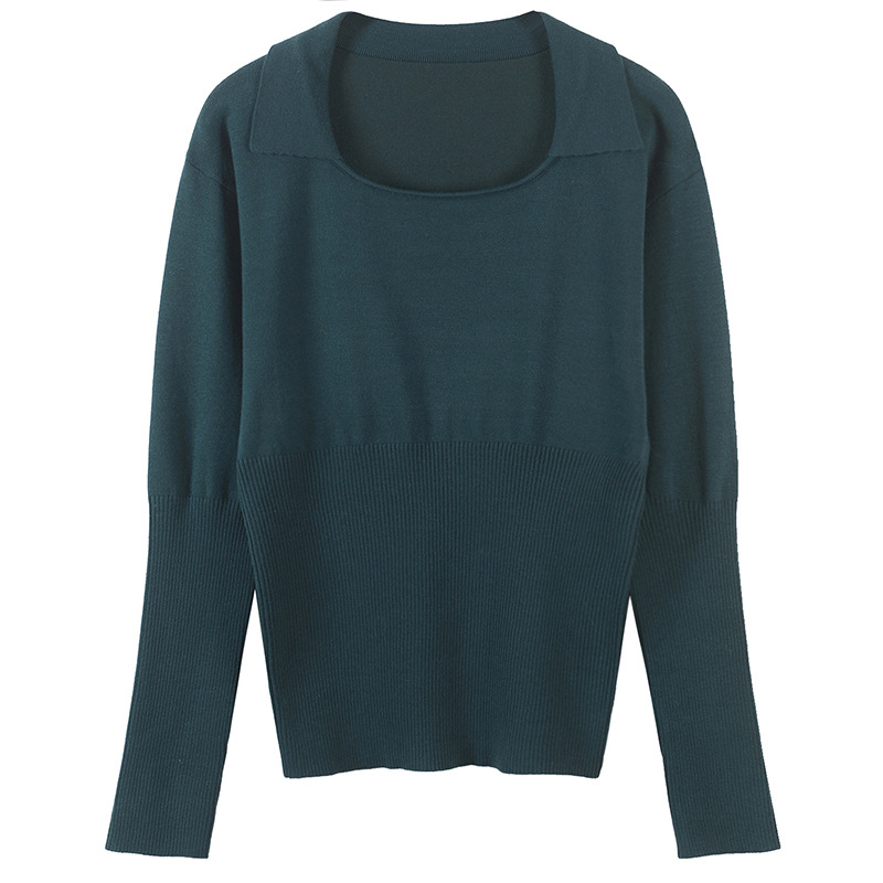 2018 Casual Alta Prendas Punto Costura Otoño Negro Trajes Manga Retro verde Jerseys Suéter Camisa Mujer De Verde Completa Nuevo Fondo ExqS61wRR