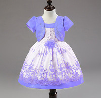 Fashion Birthday Girl Clothing Sets Lace Lavender Jacket Party Toddler Baby Frocks Designs