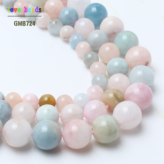 natural stone beads colorful morganite stone round loose beads for jewelry making 15inche/strand diy bracelet necklace