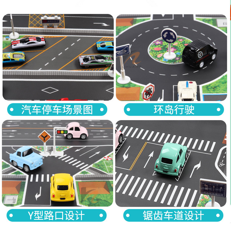 Image 2 - 130*100CM Large City Traffic Car Park Play Mat Waterproof Non woven Kids Playmat Pull Back Car Toys for Children's Mat-in Play Mats from Toys & Hobbies
