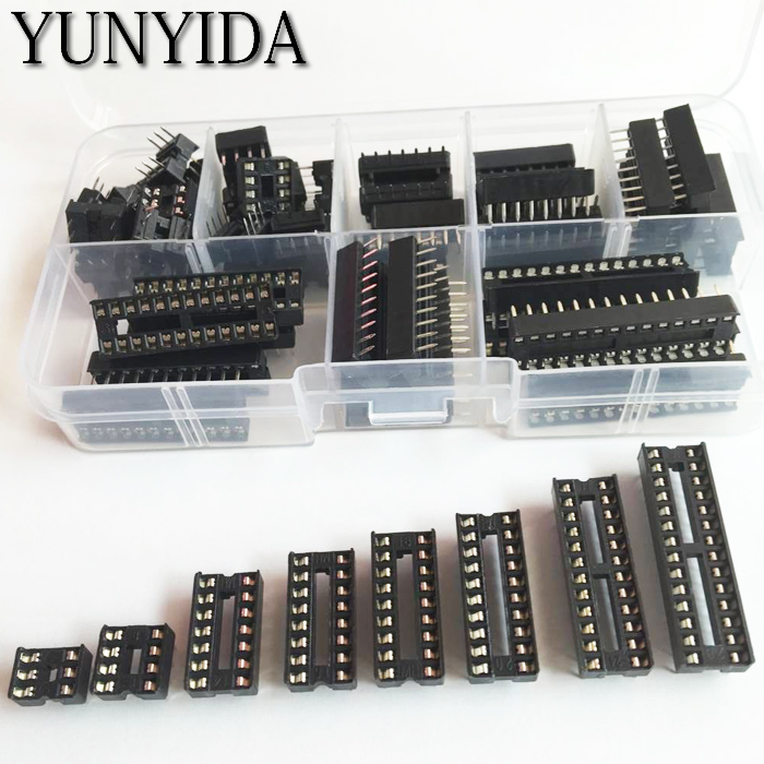 66PCS/Lot DIP IC Sockets Adaptor Solder Type Socket Kit 6,8,14,16,18,20,24,28 pins + Box