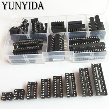 цена на 66PCS/Lot DIP IC Sockets Adaptor Solder Type Socket Kit 6,8,14,16,18,20,24,28 pins + Box