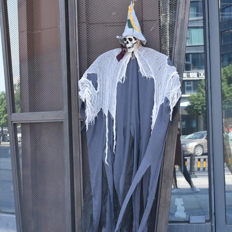 Halloween décoration son contrôle jouets grande taille 2 m debout fantôme crâne brillant yeux effrayer son accessoires hantés maison décoration