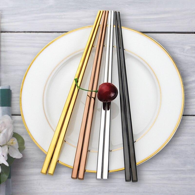 5pairs Yapon Chopsticks hashi Qara 304 Paslanmayan Polad - Mətbəx, yemək otağı və barı - Fotoqrafiya 6