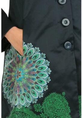 Style Fleur Vert Noir Trench De Nouveau Femmes Desigu coat nCYqc4wSz7