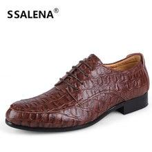 Big Size 36-50 Men Leather Shoes Fashion Crocodile Business Shoes New Working Men Flats Shoes Male #D092