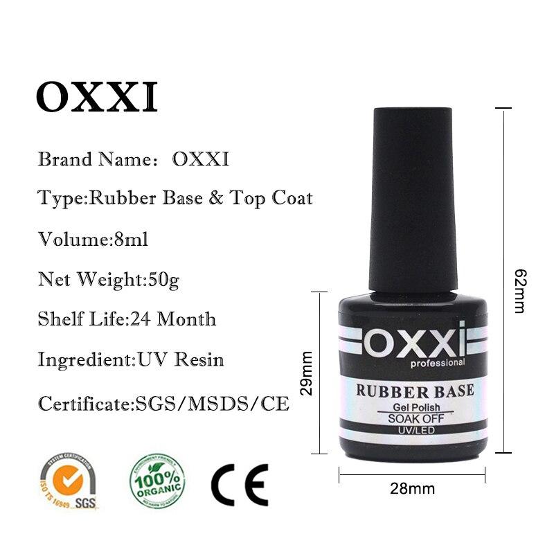 oxxi 8ml Nail Art UV Gel Varnish Nail Rubber Base and Top Coat Set For Nail Desgin Long-Lasting Led Manicure Gel Polish 2019 3