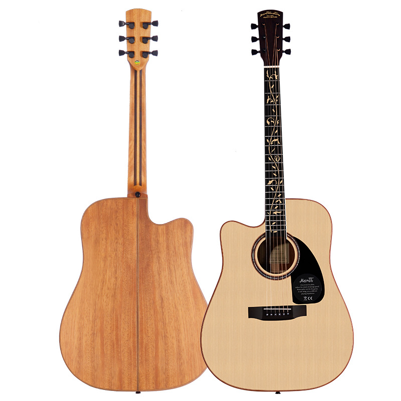 Left handed Solid Spruce Top Mahogany Back and Sides Rosewood Fingerboard Acoustic Guitar 41 Inch Folk Guitarra Free Shipping high quality solid wood guitar 41 inch spruce wood panel acoustic guitar guitarra free shipping