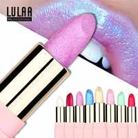 LULAA Bunte Glitter Metallic Lippenstift Lang Anhaltende Shiny Highlighter Wasserdicht Lip Stick Wasserdicht Make-Up Kosmetik Lippenstift