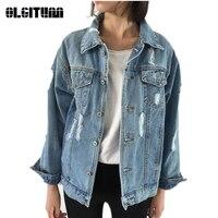 2018 New Arrival Jacket Autumn Winter Women Basic Coats Women Denim Long Sleeve Loose Female Jeans Coat Casual Girls Mujer JK066