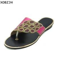 XOBZJH Women Sandals 2018 Summer Mature Luxury Ladies Purple Flat Sandals Open Toe Women Plus Size Sandals US 11