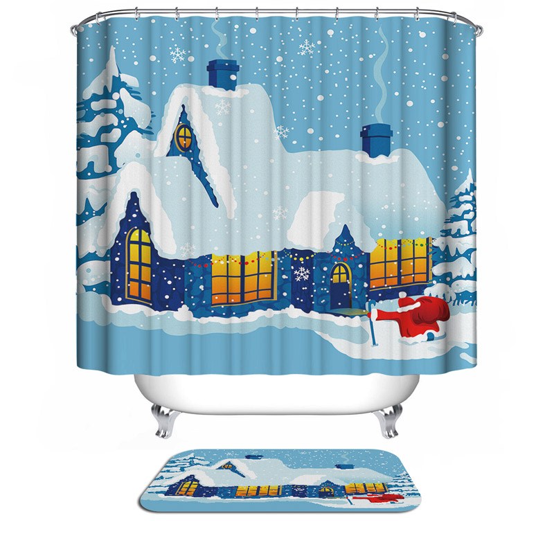 >Christmas <font><b>house</b></font> snowflakes Christmas Waterproof Mildewproof Polyester Shower Curtain <font><b>House</b></font> <font><b>Bathroom</b></font> <font><b>Decor</b></font> With 0106