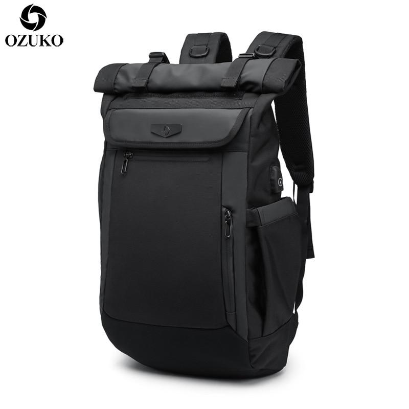 2018 OZUKO New Multifunction Men Backpack USB Charging Laptop Backpacks for Teenager Fashion Schoolbag waterproof Travel Mochila