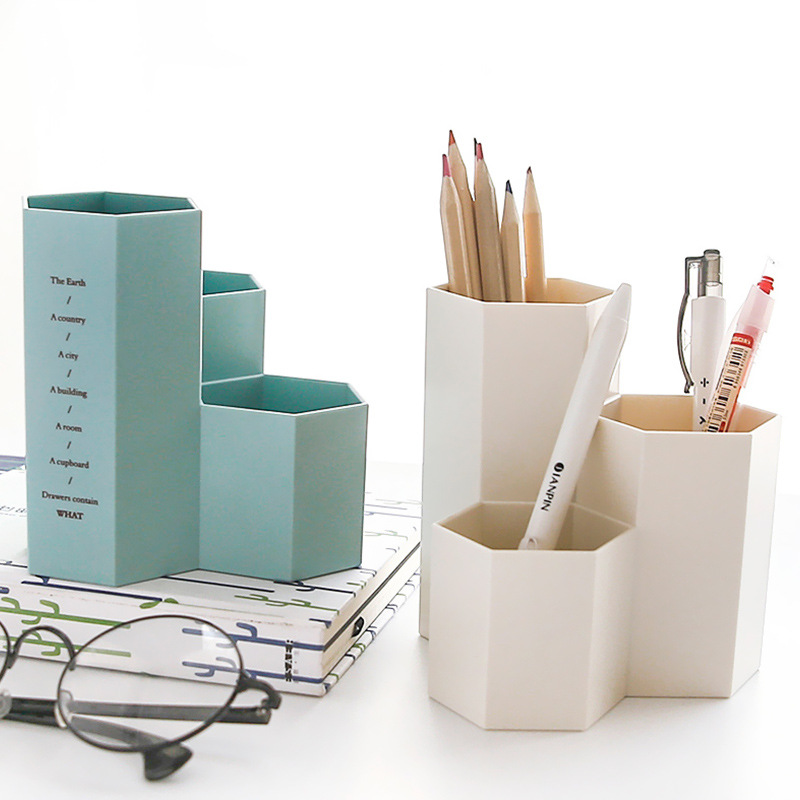 New Plastic Hexagonal Pen Holder Office Storage Student Desktop Cosmetic Finishing Multi ...