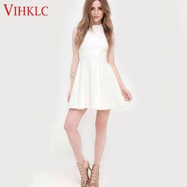 US $39.96 |Vestidos 2017 Summer Fashion Women Hatler Bodycon Dress Mini  Club Dress Plus Size High Quality Europe Simple White Sundress L493-in  Dresses ...