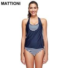MATTIONI Swimwear Women 2017 Two Pieces Swimsuit Swimwear Striped Bikini Swimsuit Swimwear Women's Swimming Suit Tankini
