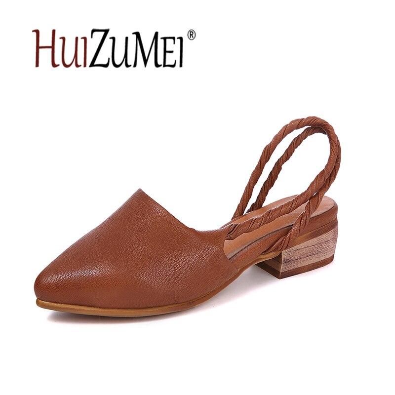 Shown Pictures as Y Shown Hecho Elegante Mujer De Mano A Genuino As Vintage Sandalias Tacones Bajos Las Simple Mujeres Zapatos Huizumei Original Cuero R41HHF
