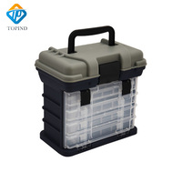 TOPIND 28x18x26cm 5 Layer PP+ABS Carp Fishing Tackle Box Fishing Storage Boxes Fly Tying Tools Waterproof Box Boat Accessories