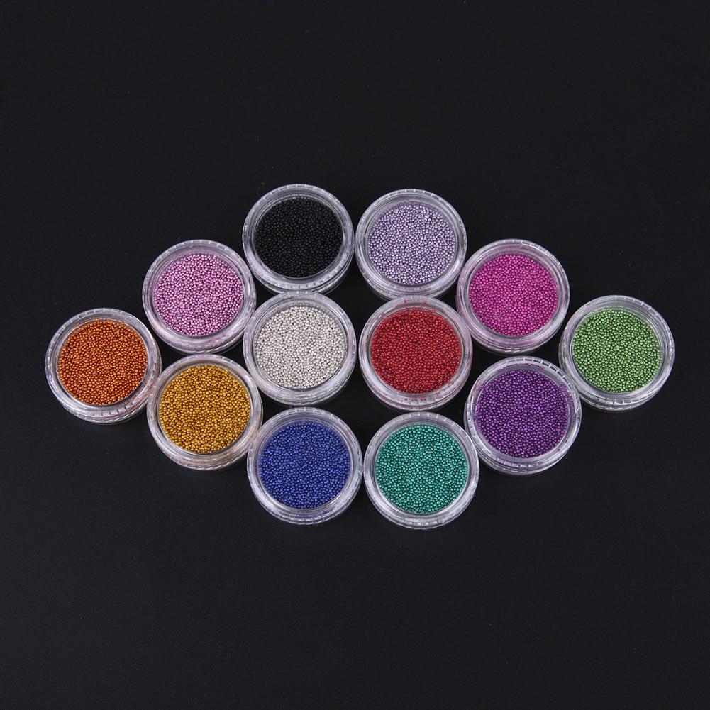 12 цветов ногтей 3D дизайн DIY наклейки металлические запонки-бисер дизайн ногтей Жемчуг со стразами украшения маникюрные инструменты