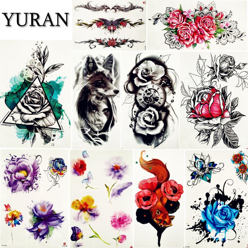 YURAN Temporary Tattoo Stickers Women Body Art Painting Flash Flower Tatoos Girls Black Wolf Arm Waterproof Neck Tattoo Supplies