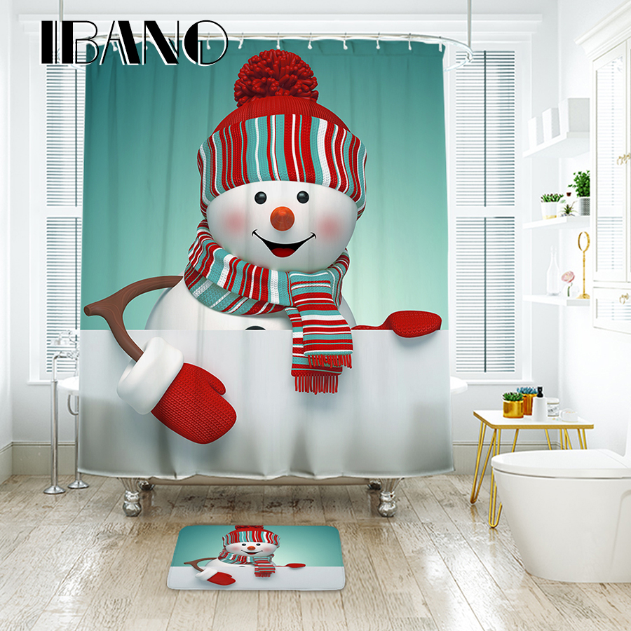 IBANO Snowman Shower Curtain Decrotation For The Christmas Festival Waterproof Polyester Fabric Bath Curtain For The Bathroom