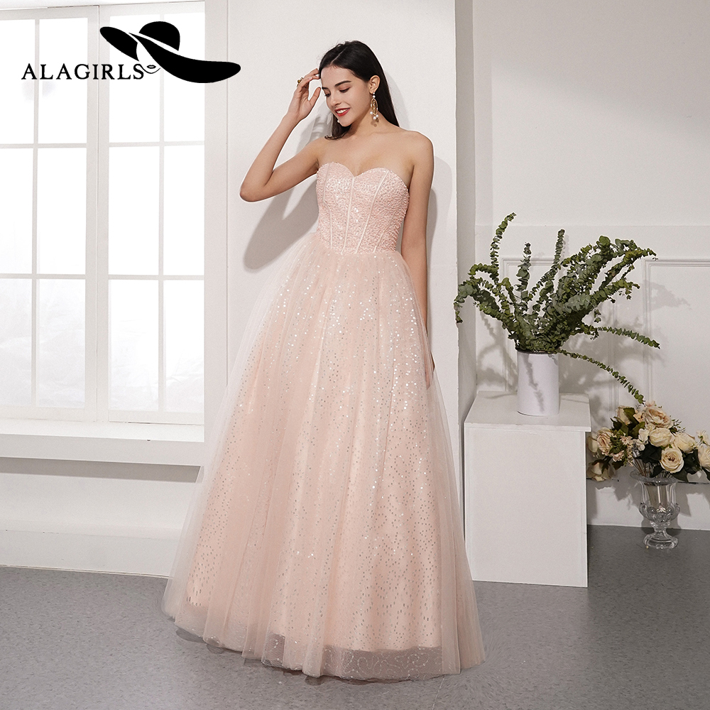 Alagirls Hot Sale A Line Pearls Prom Dress Sweetheart Evening Dress Sexy Sequins Party Dress Vestido de fiesta 2019 in Prom Dresses from Weddings Events