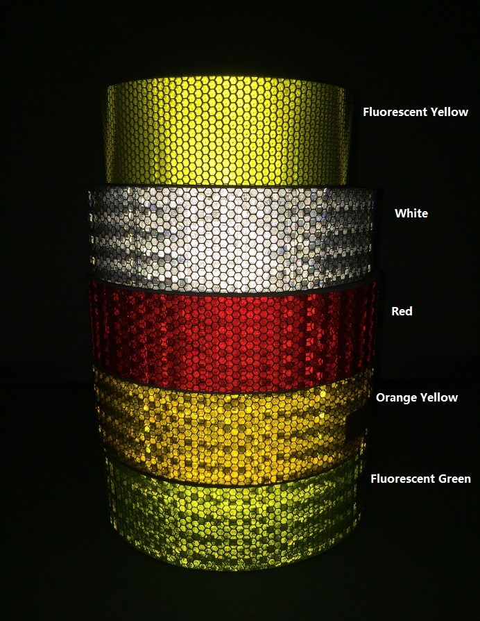 5CM*45M Self-Adhesive PVC Reflective Warning Safety Tape Truck Road Traffic Construction Site Floor Wall Warning Strip