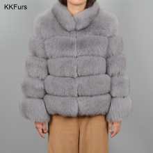 JKKFURS 2019 New Winter Thick Warm Womens 5 Rows Real Fox Fur Coat High Quality Jacket Fashion Overcoat Wholesale S7194