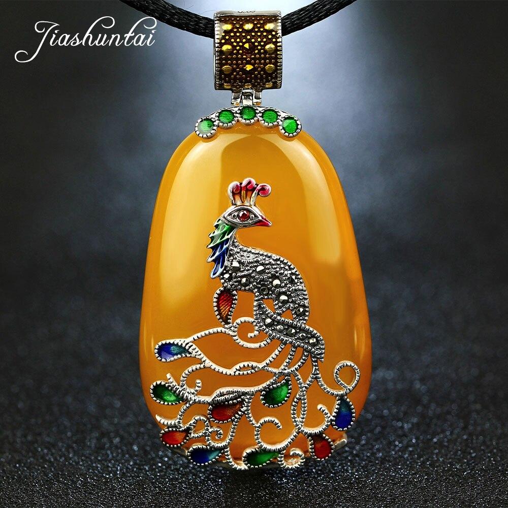 JIASHUNTAI Vintage Agate Chalcedony Gemstone Pendant Retro 925 Silver Pendant Cord Peacock Figure Pendant Large Necklace