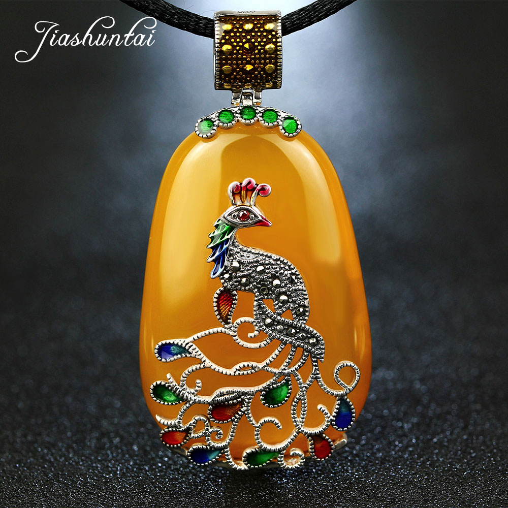 JIASHUNTAI Vintage Agate Chalcedony Gemstone Pendant Retro 925 Silver Pendant Cord Peacock Figure Pendant Large Necklace Women 2018 top fashion sale agate s990 peacock peacock cloud chalcedony agate long silver chain sweater pendant wholesale