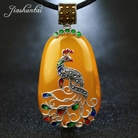 JIASHUNTAI Vintage Agate Chalcedony Gemstone Pendant Retro 925 Silver Pendant Cord Peacock Figure Pendant Large Necklace Women