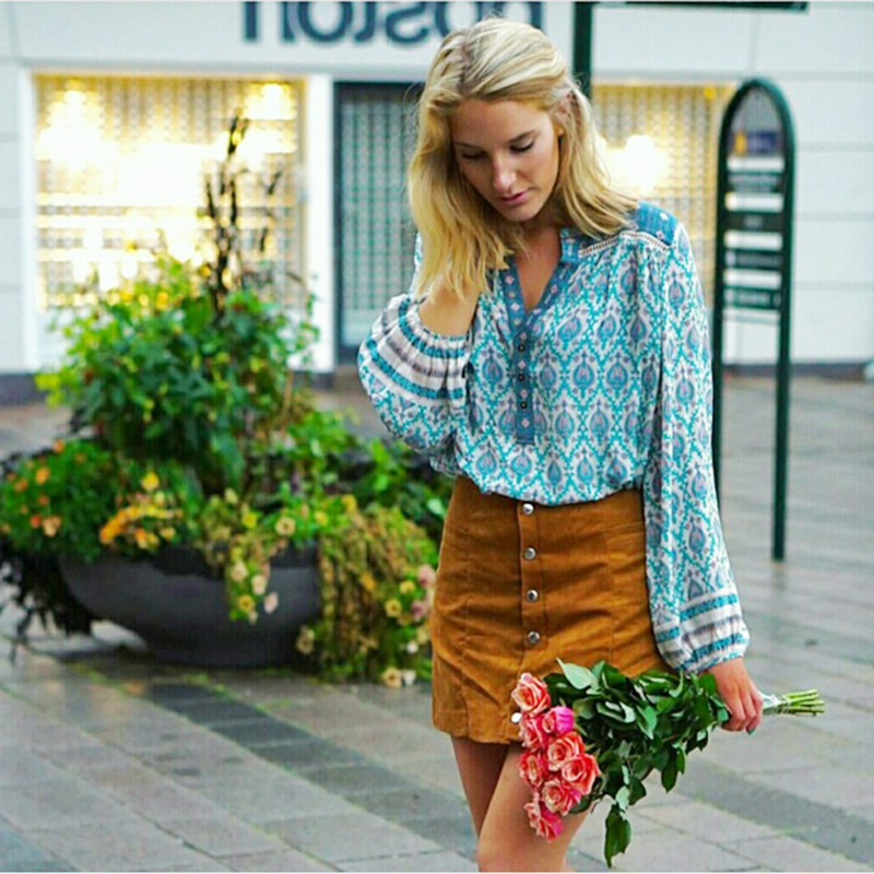 Khale Yose Spring New Floral Print Blouse Lantern Sleeve Shirt Bohemian Blouses Pullover Ethnic Hippie Gypsy Style Top For Women