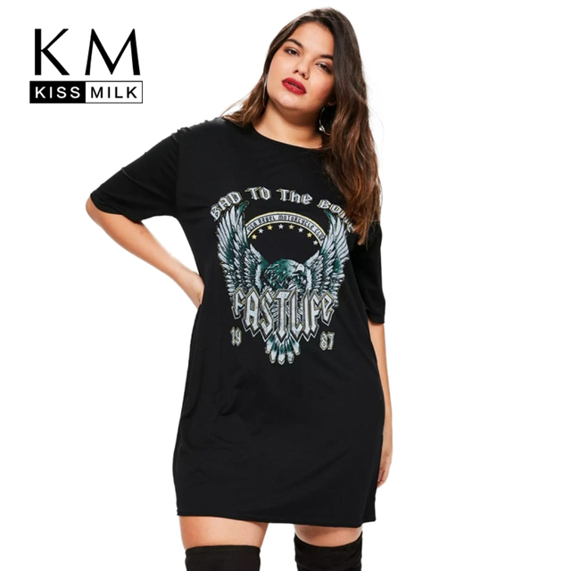 Kissmilk 2018 Women Plus Size Eagle Letter Print T Shirt Dress Punk