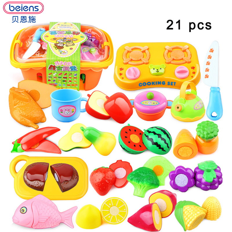 Beiens 12-21pcs/set Plastic Kitchen Food Fruit Vegetable Cutting Kids Pretend Play Educational Toy Cook Cosplay mini food toys