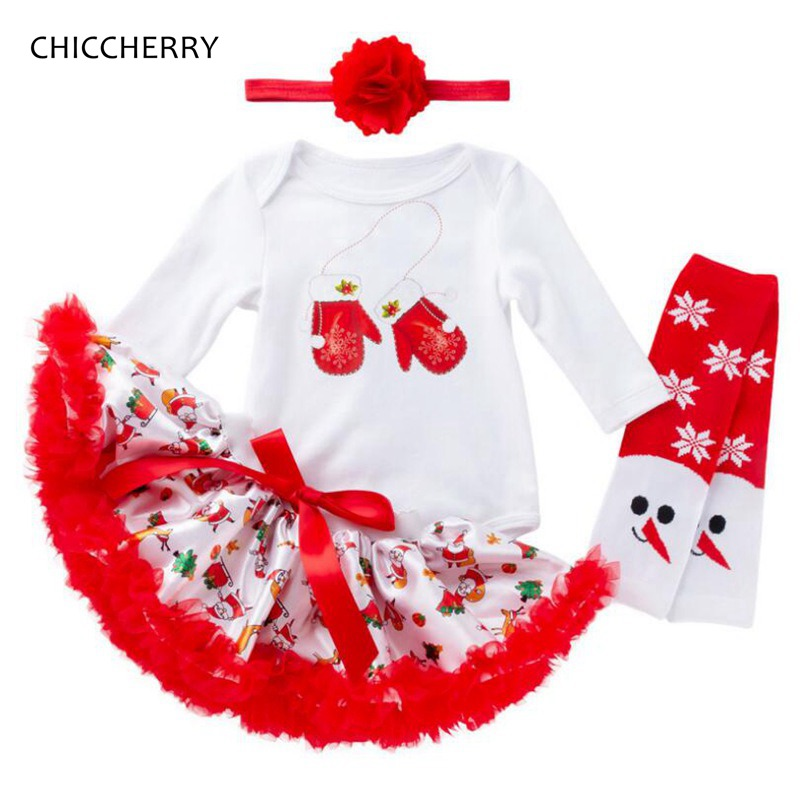 My First Christmas Girl Bebe Bodysuit Lace Tutu Skirt Headband Leg Warmers 4PCS Newborn Clothes Sets Baby Christmas Outfits contrast lace bodysuit