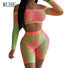 WUHE Two Pieces Sets Personality Hollow Out Grid Gradient Jumpsuits Elegant Long Sleeve Strapless See Through Summer Playsuits