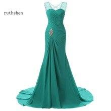 ruthshen 2019 Evening Dresses Mermaid V Neck Cap Sleeves Green Beaded Chiffon Elegant Long Evening Gown Prom Dress