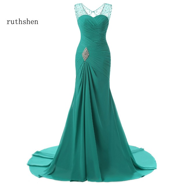 ruthshen 2019 Evening Dresses Mermaid V-Neck Cap Sleeves Green Beaded Chiffon Elegant Long Evening Gown Prom Dress