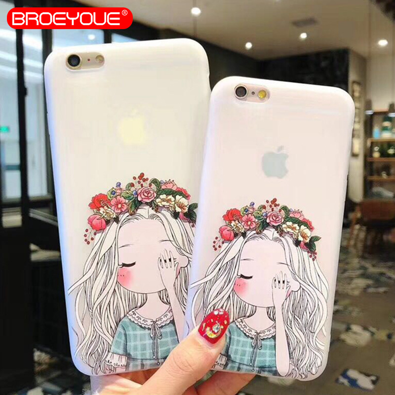 BROEYOUE 3D Relief Phone Case For iPhone 5 5S SE Clear Cute Girl Cases For iPhone 5 5S SE Soft TPU Back Cover Case Fundas Capa iPhone