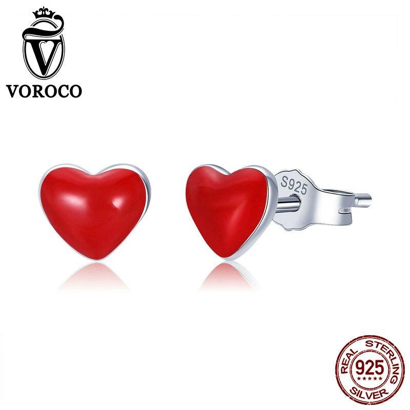 VOROCO Trendy Tiny Red Heart Enamel Earring Girl Jewelry Gift Real 925 Sterling Silver Stud Earrings Female Fine Jewelry VSE147