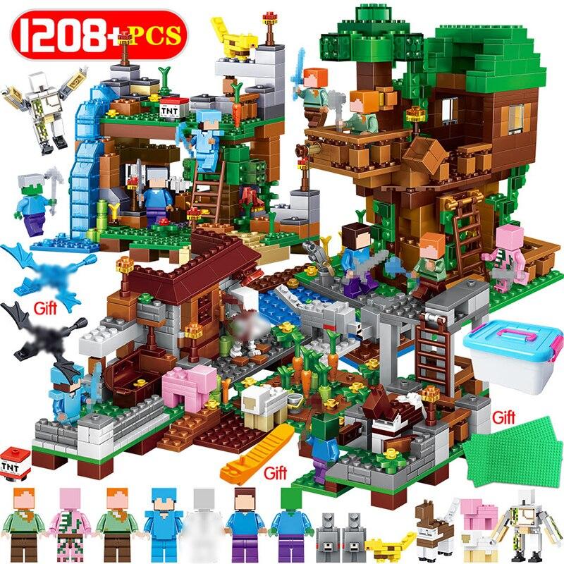 1208 piezas en mi mundo bloques de construcción LegoING Minecrafted pueblo caballo Árbol de la Ciudad casa cascada juguetes educativos para los niños