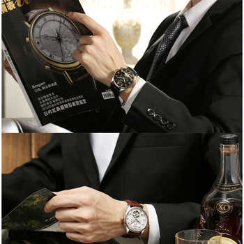 KINYUED Mechanical Watch Automatic Men Waterproof Skeleton Tourbillon Mens Wristwatch To Brand Calendar Relojes Hombre 2019