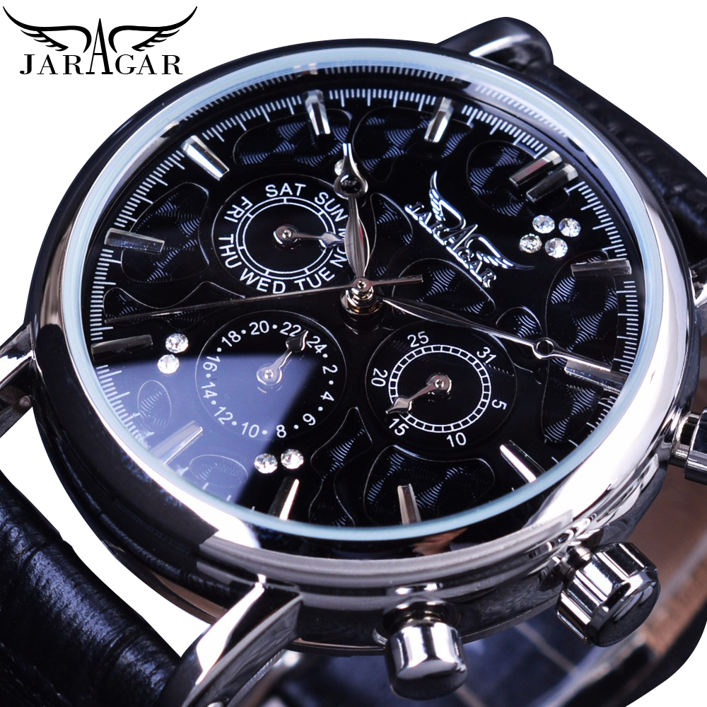 Jaragar Fashion Luxury Men Automatic Mechanical Wrist Watches Top Brand Black Leather Band 3 Sub-dials 6 Hands Date Reloj Hombre