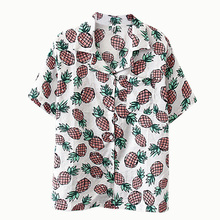 цена на Vintage Women's Blouse Female Harajuku Shirt Loose Retro Pineapple Print Shirt
