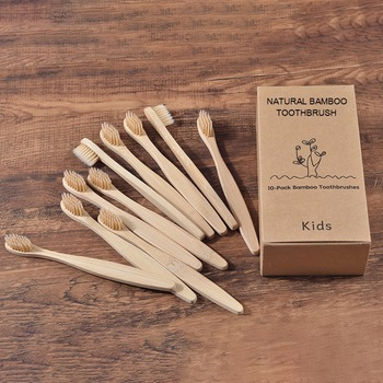 10PC Kids Soft Bristles Bamboo Toothbrush eco friendly Childrens Toothbrushes Biodegradable Plastic-Free Oral Care Tooth Brush 1